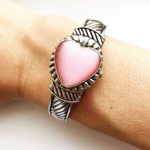 Vintage silver cable & pink heart watch bracelet